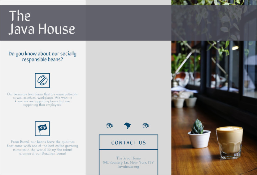 coffee cafe brew Free Editable Professional Brochure Templates