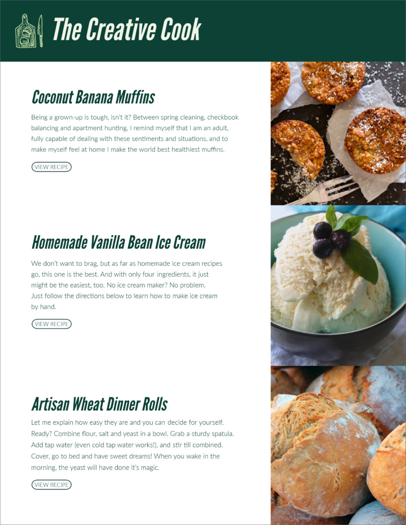 food restaurant Free Newsletter Templates