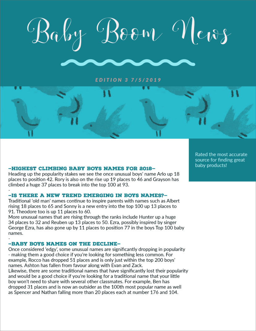 baby Free Newsletter Templates