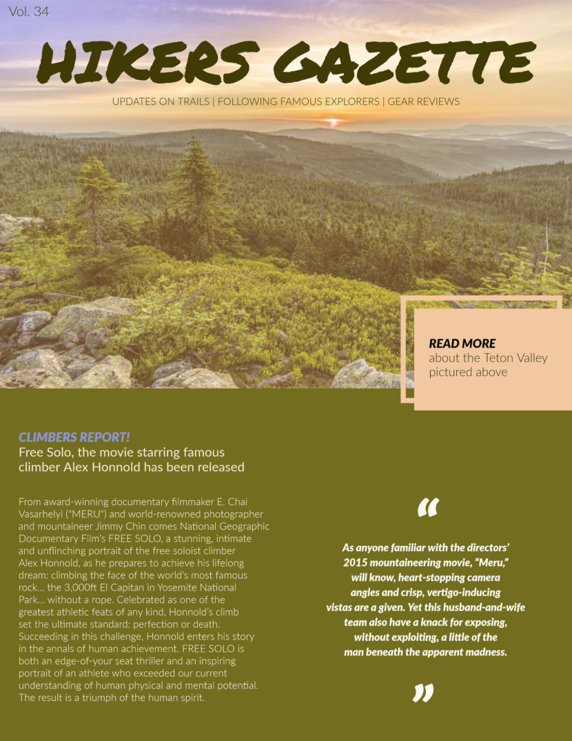 Hiking outdoor adventure Free Newsletter Templates