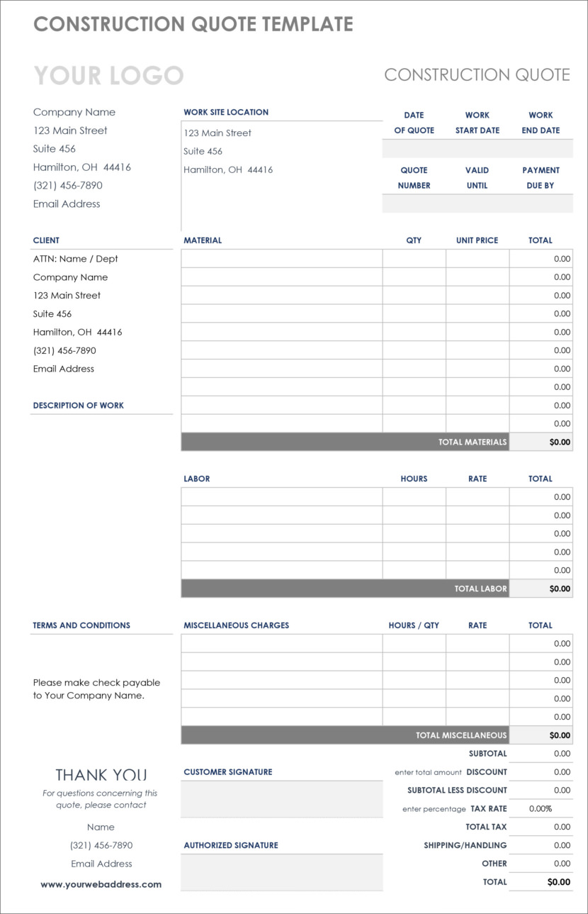 Microsoft Excel xlx xlsx Free Templates For Price Estimations, Service Bids, And Sales Quotations
