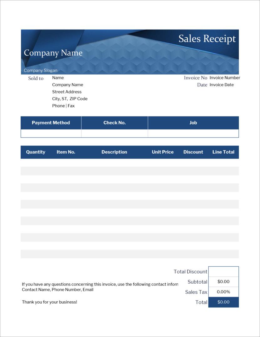 Microsoft Office Excel xlx xlsx Free Receipt Templates
