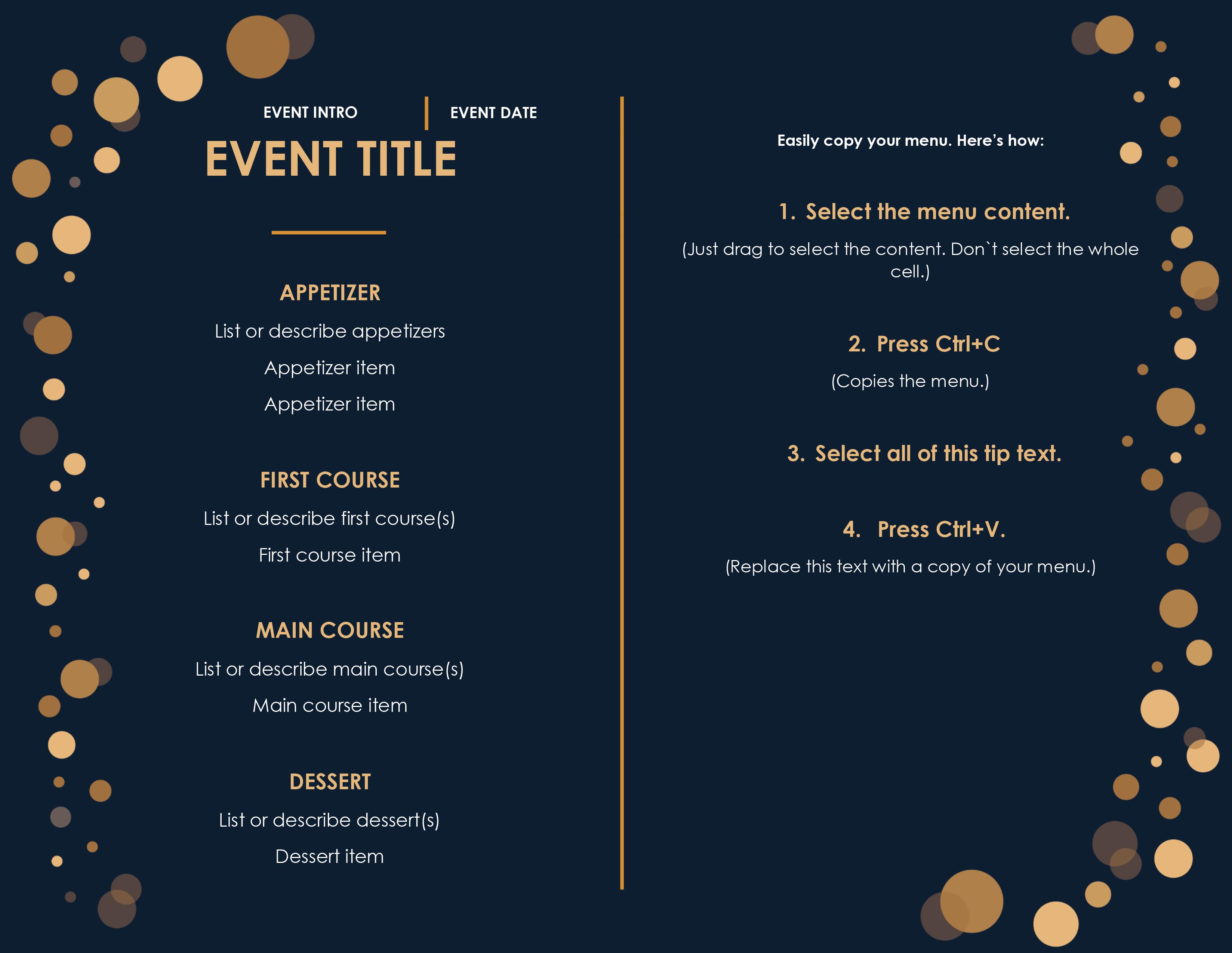 32 free simple menu templates for restaurants cafes and. Black Bedroom Furniture Sets. Home Design Ideas