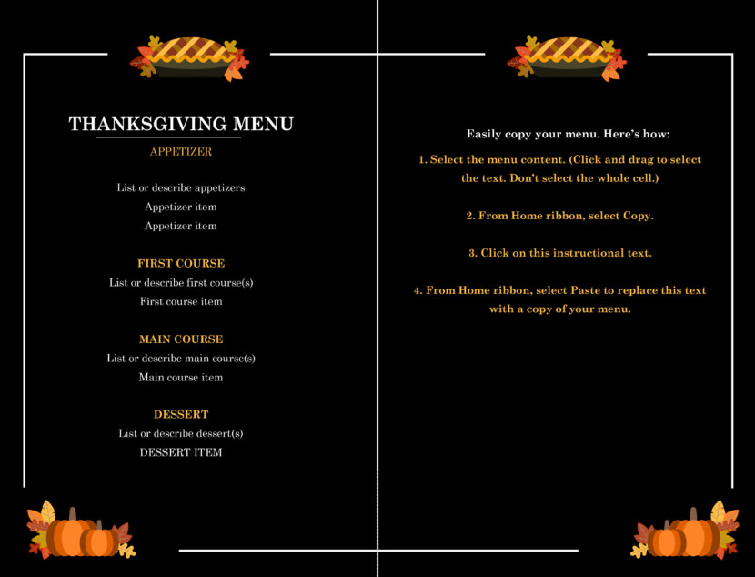thanksgiving Free Simple Menu Templates For Restaurants