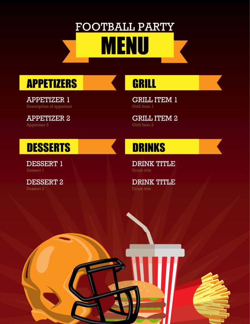 sports football Free Simple Menu Templates For Restaurants