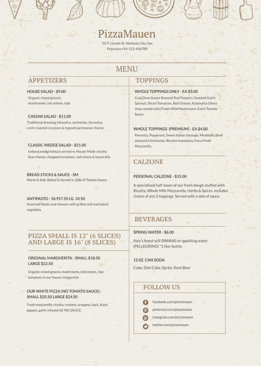 restaurant pizza dinner Free Simple Menu Templates For Restaurants