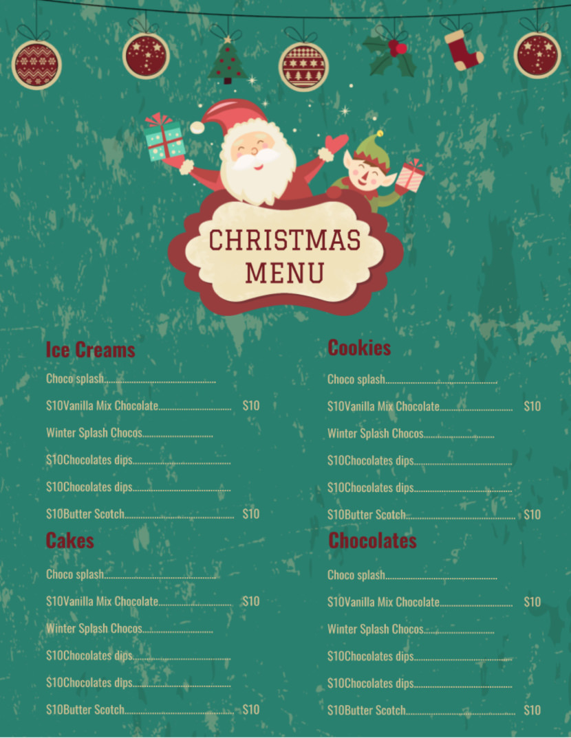Christmas  Free Simple Menu Templates For Restaurants