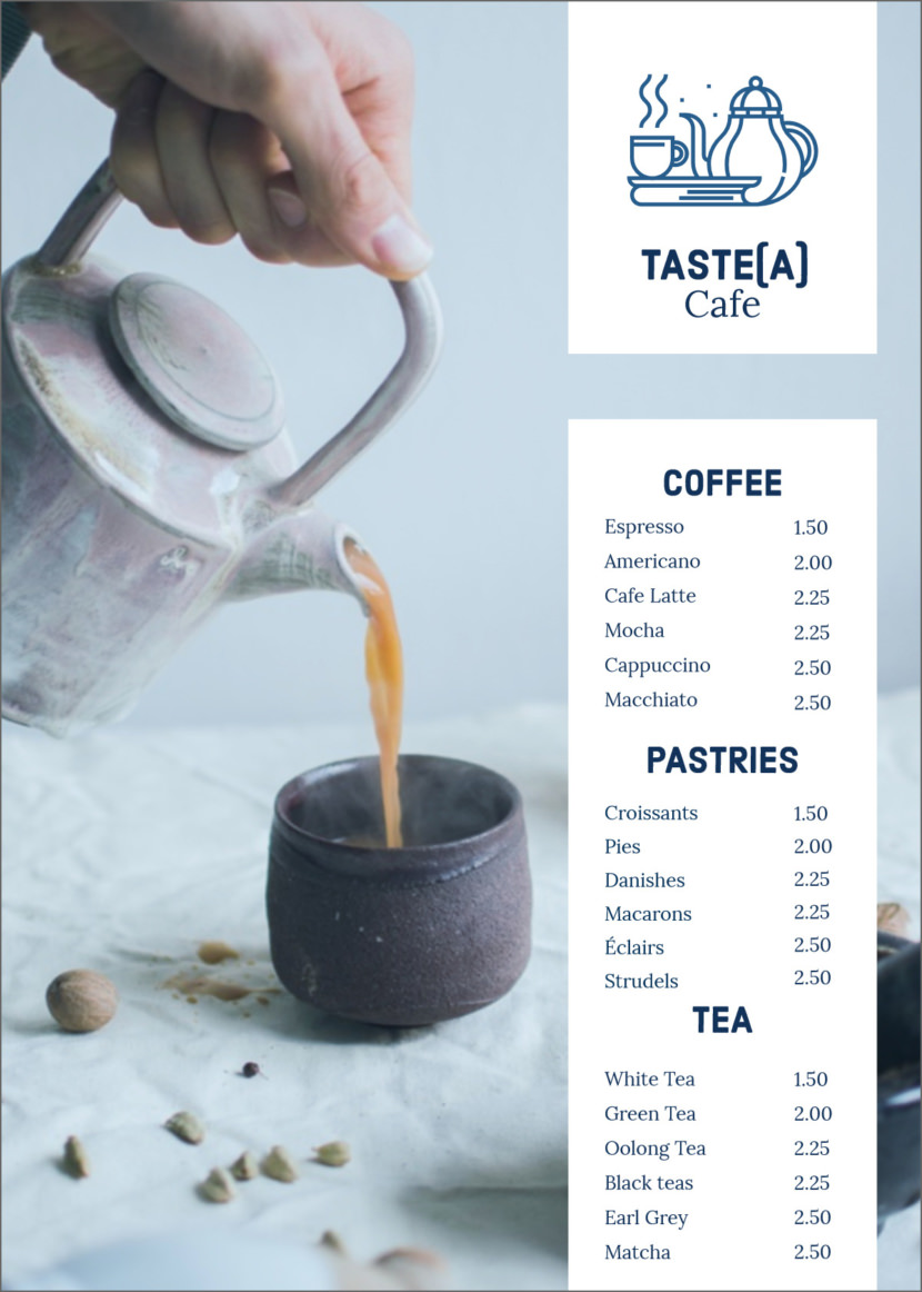 cafe coffee tea Free Simple Menu Templates For Restaurants