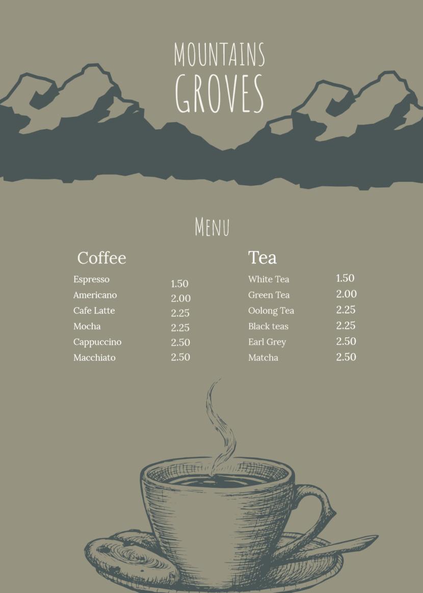 coffee drinks tea Free Simple Menu Templates For Restaurants