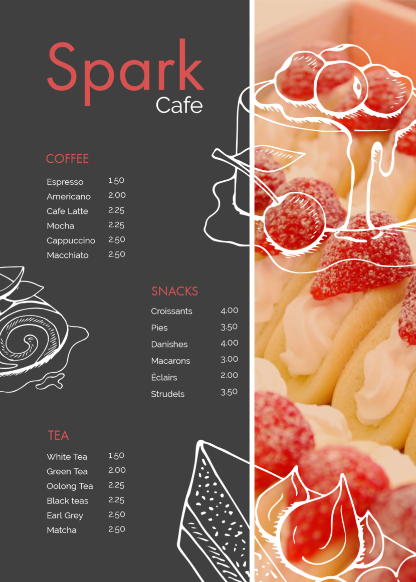 cafe Free Simple Menu Templates For Restaurants