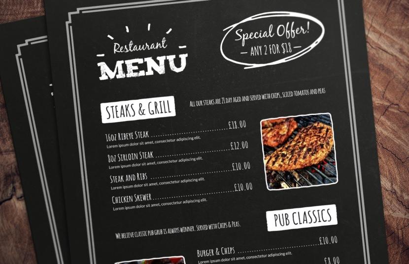pizza dinner grill black Photoshop PSD Chalkboard Restaurant Menu Template
