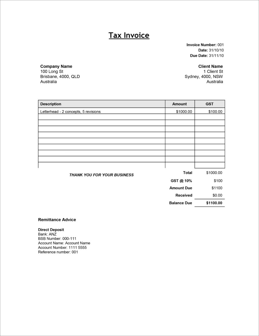 Google Sheet Tax Invoice Template