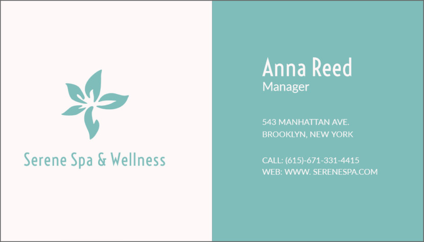 Spa and Wellness Business Card Template