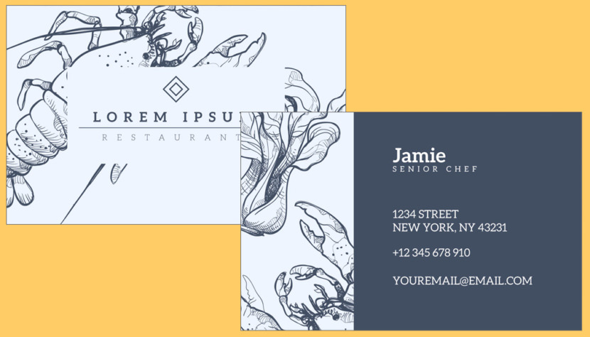 Restaurant Sketch Business Card Template