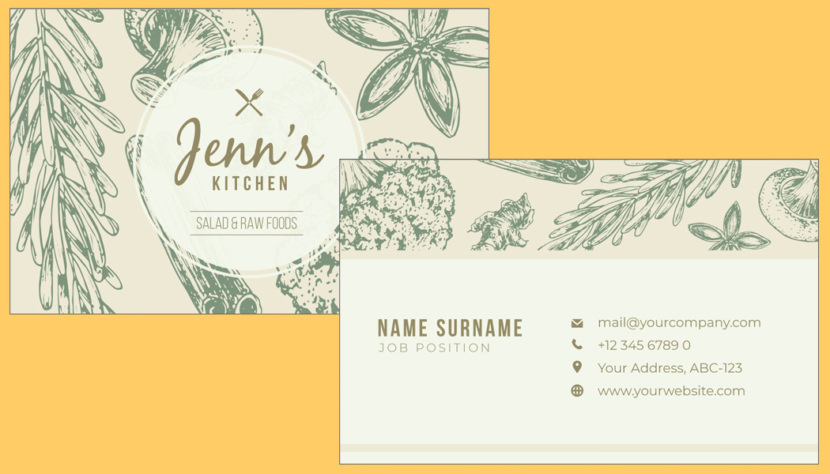 Kitchen Food Business Card Template