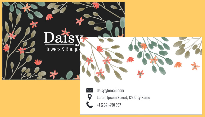 Flower Bouquet Business Card Template