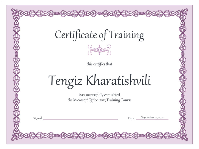 Creative Blank Certificate Templates Training Course
