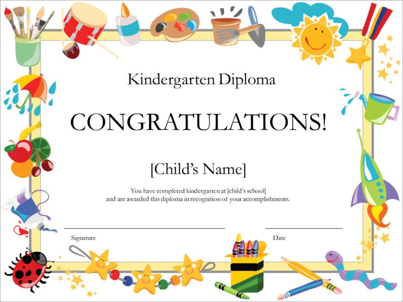 Creative Blank Certificate Templates Kindergarten graduation