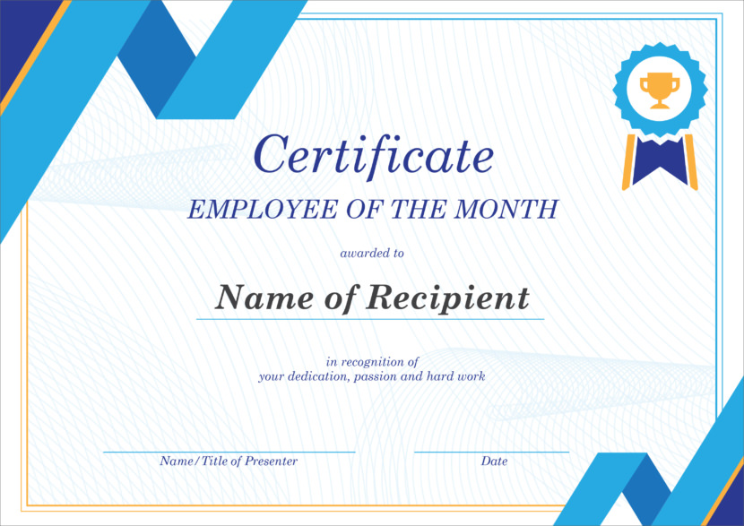 Creative Blank Certificate Templates employee month