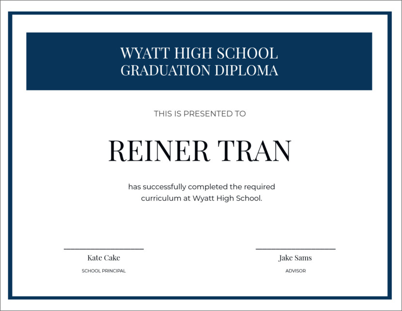 high school graduation Creative Blank Certificate Templates