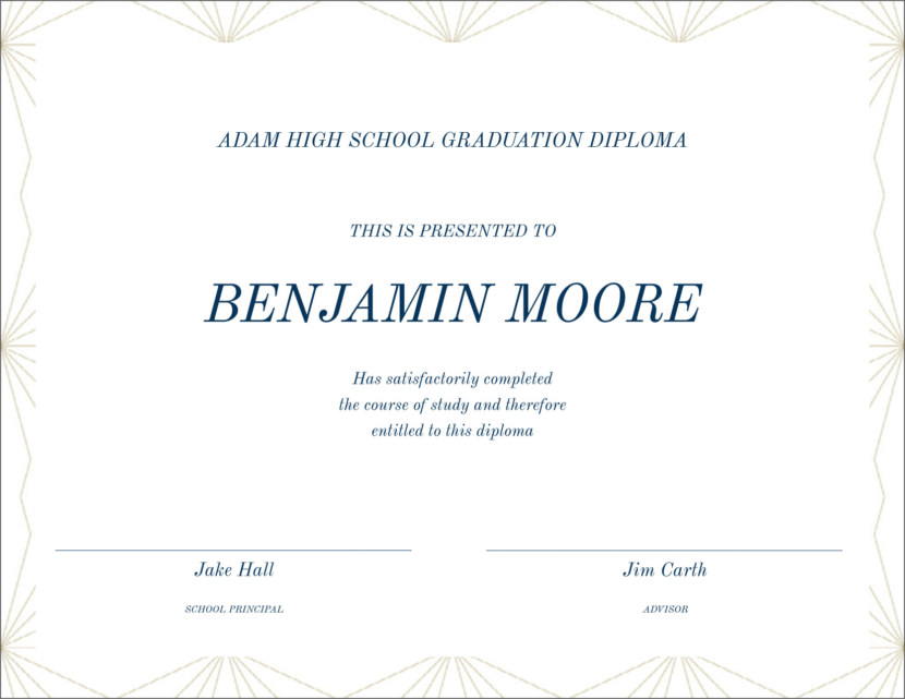 high school graduation diploma Blank Certificate Templates