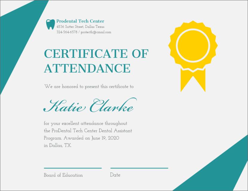 attendance Blank Certificate Templates