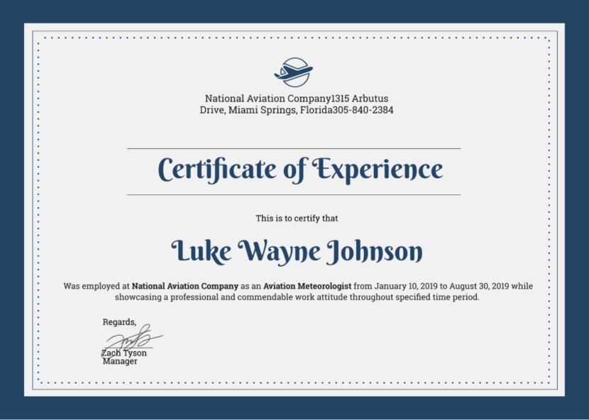 Company experience Blank Certificate Templates