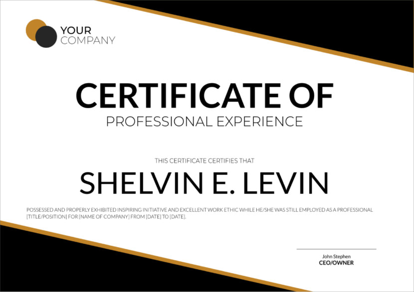 Professional experience certificate Blank Certificate Templates