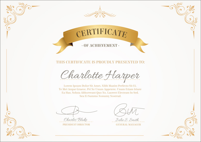 Certificate of Achievement Blank Certificate Templates