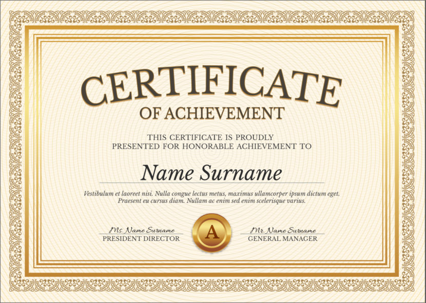 Old Fashion Golden Blank Certificate Templates