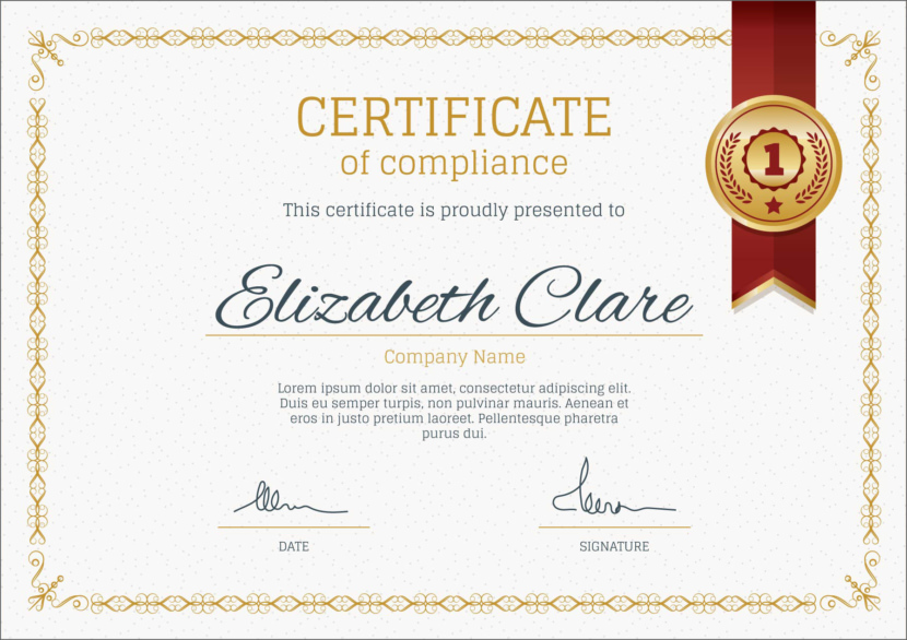 Compliance Blank Certificate Templates