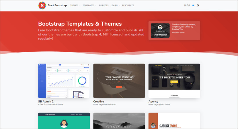 Start Bootstrap Free Professional HTML5 Responsive Templates