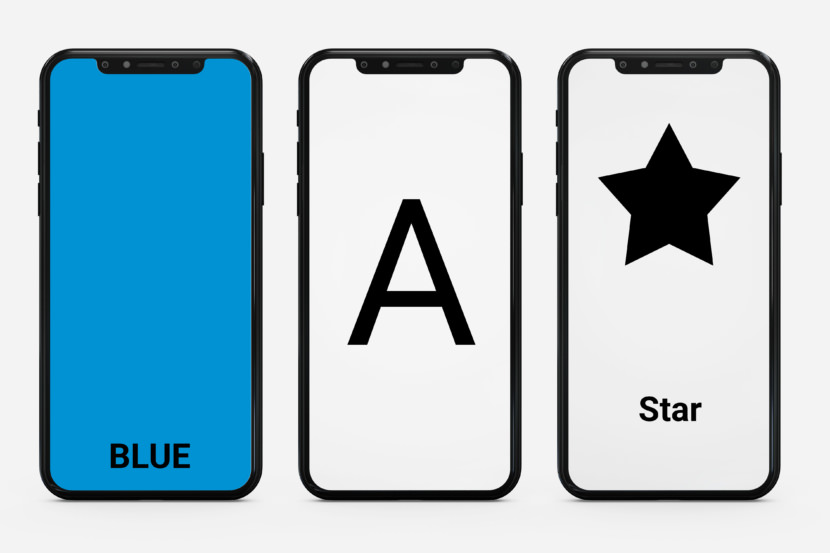 Screenshot of minimalist ABC flash cards for toddlers in smartphone format