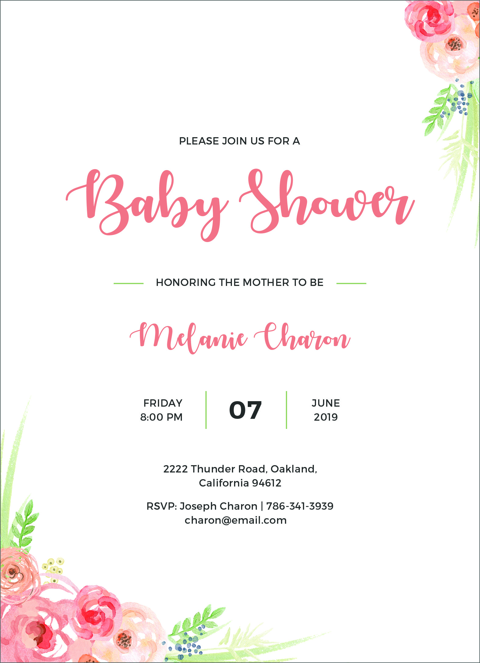 24 Free Editable Baby Shower Invitation Card Templates