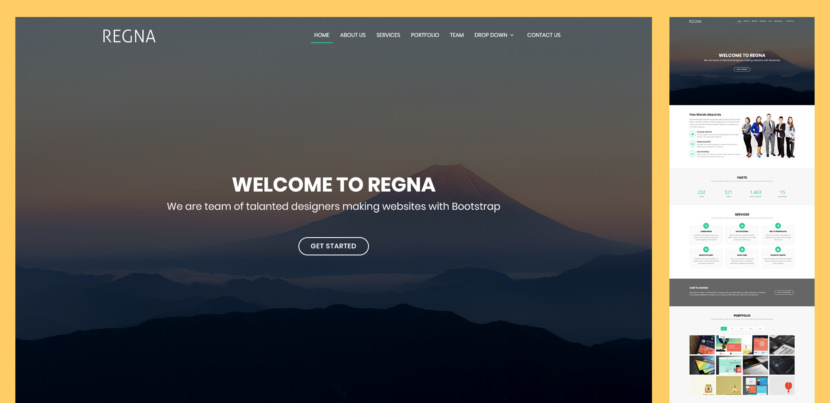 Regna is a sleek Bootstrap 4 template designed for any type of corporate, business or agency websites. It's a one-page template with clean design, fully responsive and looks stunning on all devices.