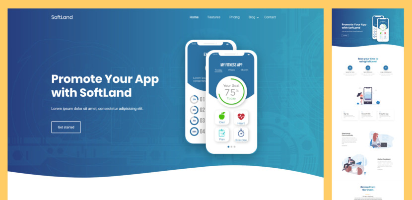 SoftLand is a modern and creative app landing HTML website template. Anyone can use this template to showcase their apps or services. SoftLand is an ultimate responsive landing page template for anyone who is looking for app landing page, software landing page, app showcase, app store page template etc.