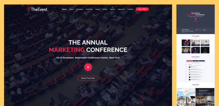 TheEvent is free website template for events, conferences and webinars. It's one page, responsive HTML template created with the latest version of Bootstrap framework. It's designed to provide detailed information about your event.