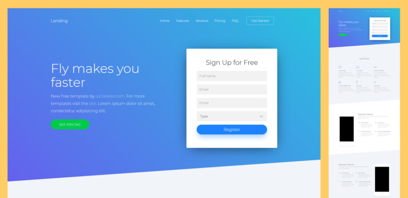 Landing is a free Bootstrap 4 website template suitable for any type of landing pages. It is a one-page template with features such as smooth scroll, slick slider, slant sections, table pricing, smooth accordion for frequently ask questions, and many more. Built with the latest technology such as HTML5, CSS3, jQuery, and Sass.