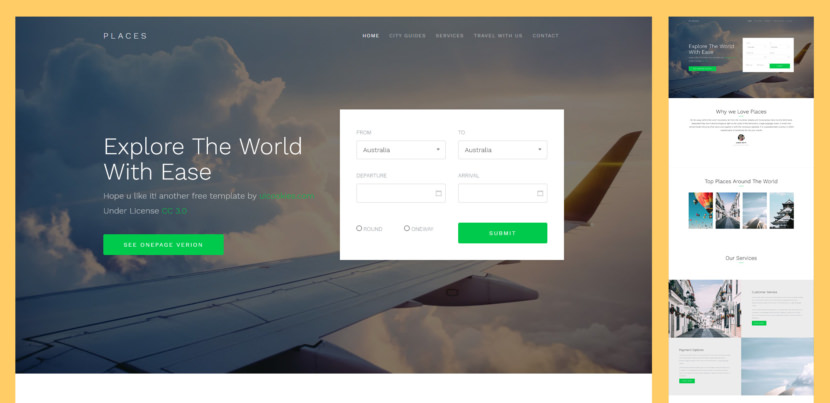 Places is a free Bootstrap 4 template perfect for travel agency but not limited to it you can actually customize the elements, colors, etc. to suit your needs.