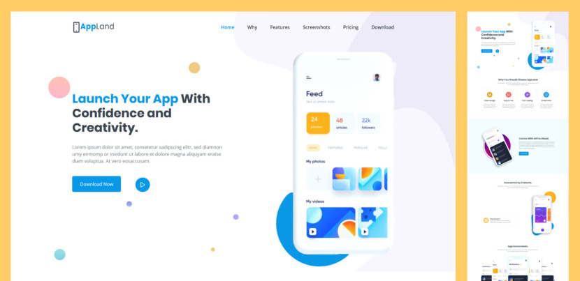 AppLand is Free and Premium App Landing Page Template specially designed for app landing, software and SaaS landing pages. AppLand provides a creative, unique and simplified way to showcase and represent your app.