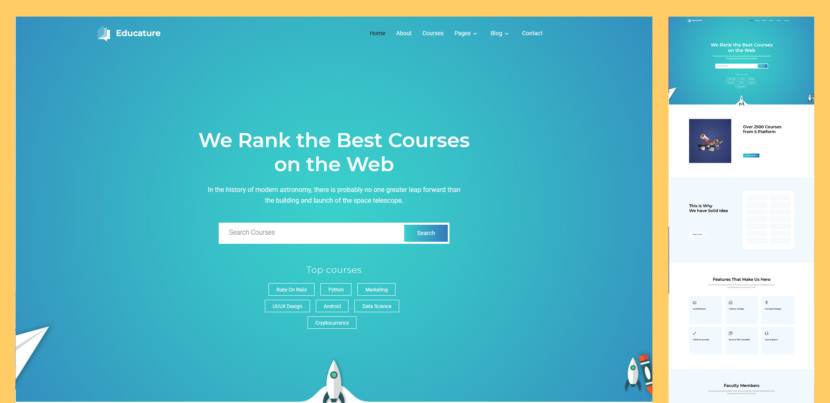 If you are looking for a way to start your own education platform, Educature is the free HTML online courses website template you should consider. It rocks a contemporary, high performing and eye-catchy web design that will cater to a broad audience.