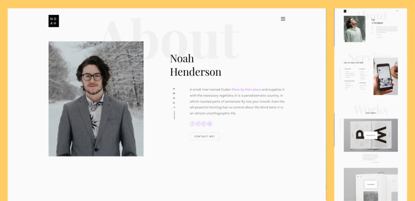 Noah is a mindblowing free personal landing page website template with a striking and enticing web design. Creative individuals, freelancers and job seekers, you can all greatly benefit from Noah and its peculiarities.