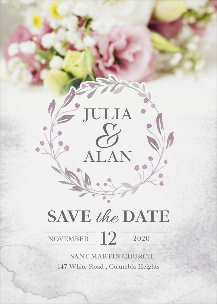 Floral Minimal Wedding Invitation Template Printable And Editable PSD