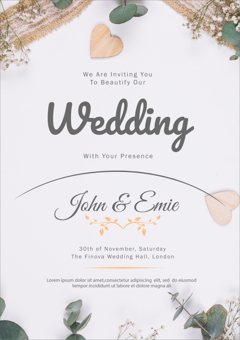 Beautiful Wedding Invitation Template Printable And Editable PSD