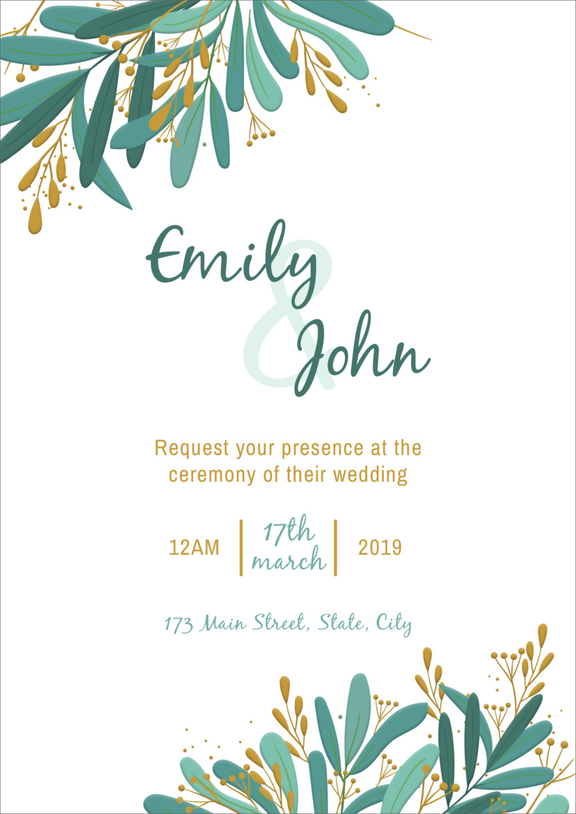 Elegant Wedding Invitation Template Printable And Editable PSD