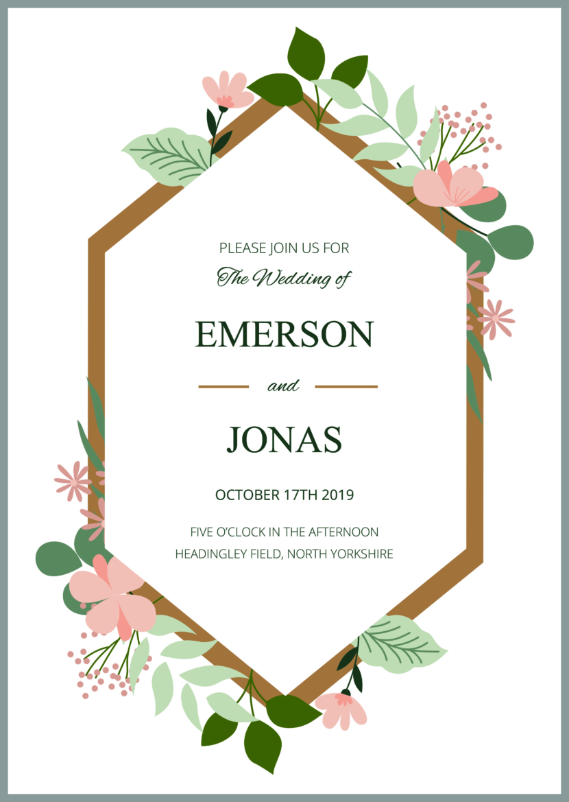 Modern Wedding Invitation Template Printable And Editable PSD