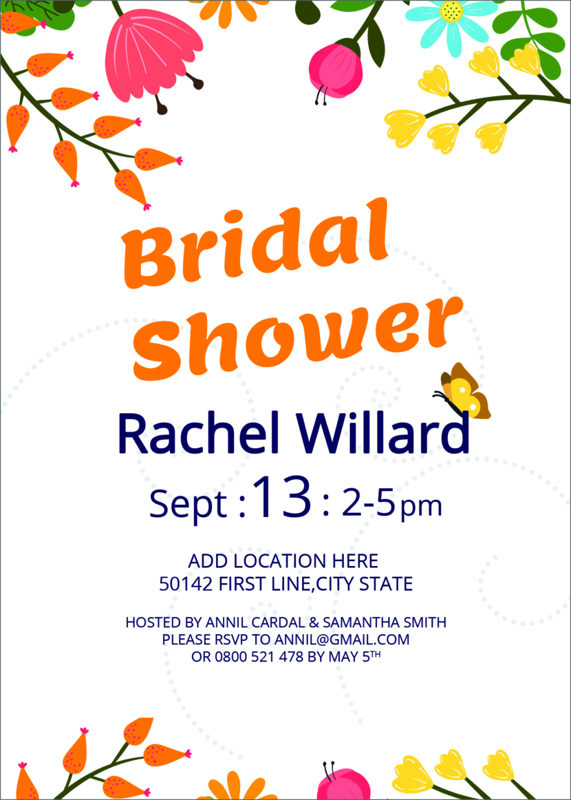 Free Bridal Shower Invitation Template Printable And Editable PSD