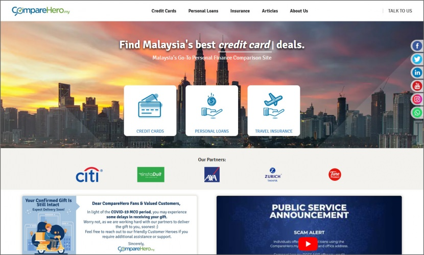 comparehero compare credit cards from banks, personal loans for business and travel insurance in Malaysia