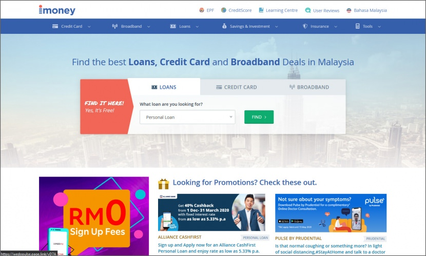 iMoney compare loans FD fibre broadband gold investment insurance in Malaysia