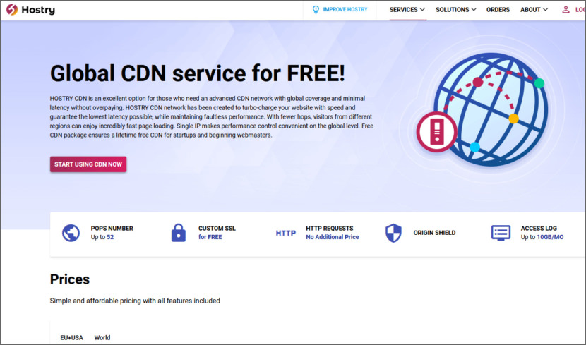 Hostry free CDN for WordPress